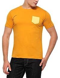 Youthen Single Pocket Mustard Yellow Round Neck Cotton T-Shirt