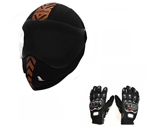 Steelbird Helmet - Adonis Dashing Black With Golden Sticker+Pro-Biker Gloves-Black