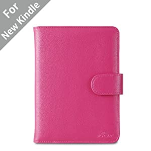 "Acase(TM) Classic Kindle Leather Case (Hot pink) for 4th Generation 6"" Kindle Wi-Fi w/o Keyboard (Not for Kindle Touch)"