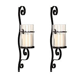 Gift Idea! Adeco Iron and Glass Vertical Wall Hanging Candle Holder Sconce, 3-Dimensional Scroll Design, Holds One Pillar Candle
