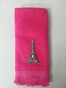 Amazon.com - Eiffel Tower Bath Hand Towel French Fingertip Pink