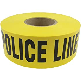 "Presco B3103Y11-658 1000' Length x 3"" Width x 3 mil Thick, Polyethylene, Yellow with Black Ink Barricade Tape, Legend ""Police Line Do Not Cross"" (Pack of 8)"