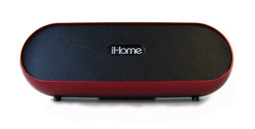 Ihome Portable, Rechargeable Bluetooth Stereo Speaker System With 3.5Mm Headphone/Audio Jack, Black And Red