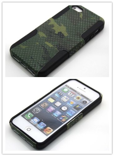 Big Dragonfly High Quality New Dual Layer (Silicone + Plastic) Protective Shell Hybrid Below Case Cover For Apple Iphone 5 5G With Military Camouflage Design & Small Holes Eco-Friendly Package Black + Army Green (Great Texture) front-777808