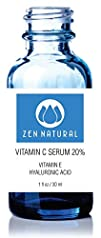 Zen Natural Vitamin C Serum 20% for Face and Skin – With Vegan Hyaluronic Acid + Vitamin E + Organic…
