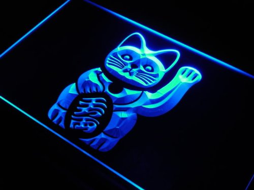 Adv Pro J980-B Maneki Neko Lucky Cat Charm Good Led Light Sign