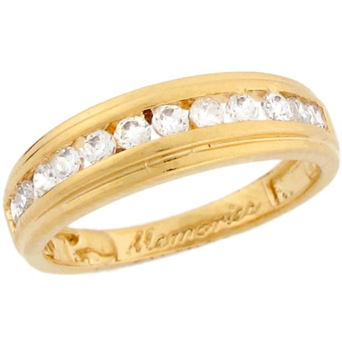 9ct Yellow Gold White CZ Stylish Eternity Band Ladies Ring
