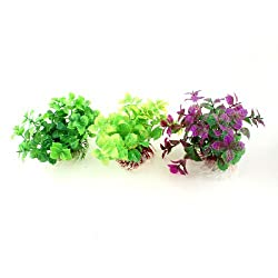 3 Pcs Green Purple Artificial Aquatic Water Plant 4.1for Fish Tank