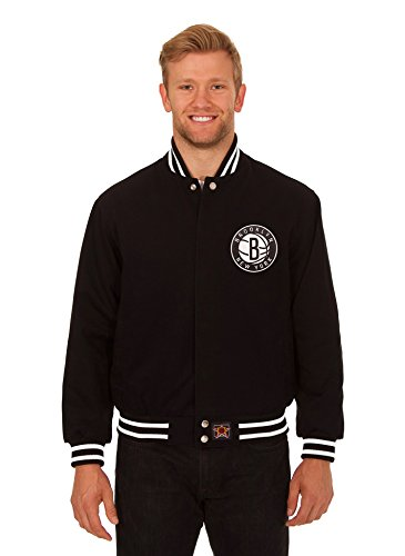 Brooklyn Nets Men's Cotton Twill Jacket with Hand Crafted Leather Team Logos (Large) (Brooklyn Nets Car Emblem compare prices)