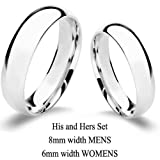 Authentic 925 Sterling Silver His and Hers Wedding Band Set with Free Engraving