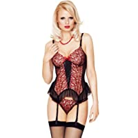 Mio Sexy Flaming Red Temptress Embroidered Basque and Thong Set Small/Medium