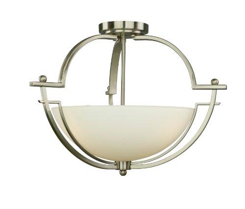 Woodbridge Lighting 12235-Stn Aurora Semi-Flush Mount, 19-1/2-Inch By 14-Inch, Satin Nickel