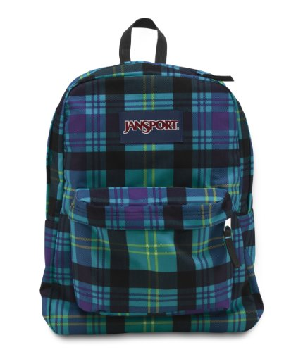 JanSport Superbreak Backpack, Mammoth Blue Preston Plaid
