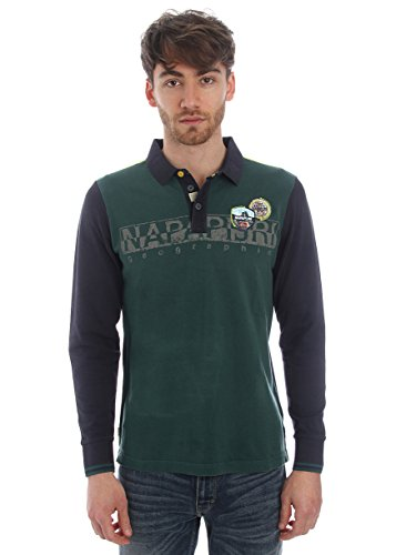 Napapijri-Polo in cotone piquet bicolore - blu/verde-Male-4794704