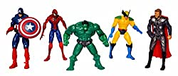 Sunshine 5 In 1 Twist and Move Avengers Action Figure Set, Batman and Spiderman Action Figure Toy,Avengers Age of Ultron