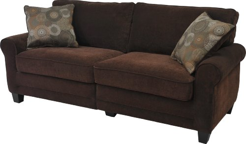 Serta Cr-43540Pb Trinidad Collection 78Inch Deluxe Sofa, Chocolate Fabric front-999792