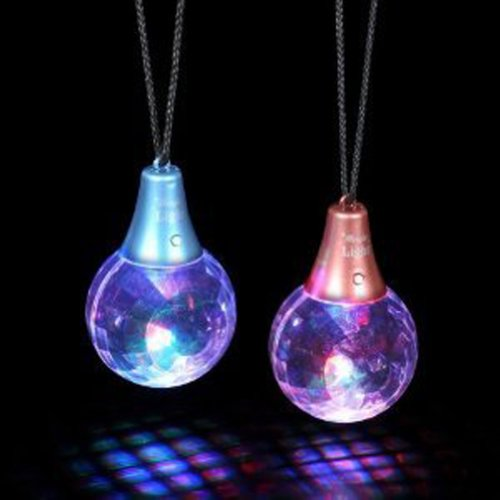 Flashing Panda Disco Prism Ball LED Multicolor Pendant Necklace