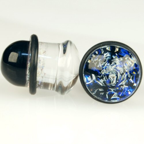 Pair of Glass Single Flared Two Color Foil Galaxy Plugs: 00g Diamond/Blue