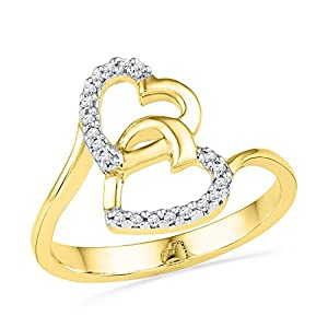 10kt Yellow Gold Womens Round Natural Diamond Double Heart Love Fashion Ring (.08 cttw.)
