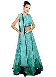 ladyvastra Navratri Collection Cyan Color Rawsilk Lehenga Choli