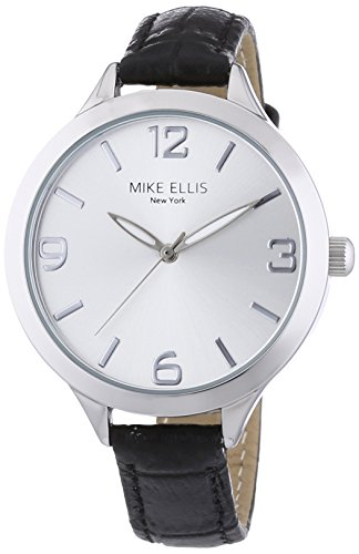 Mike Ellis New York Damen-Armbanduhr Streamline Analog Quarz Leder L3142A