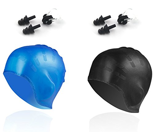 Swim Cap for Long Hair from Ninjetics, with 2-Pieces Nose Clips and 2-Pieces Earplugs. 2-Pack, Durable Silicone for Elasticity, Comes in Blue and Black. For Men and Women. Swim With Yours Now! (Swim Long Hair Nose Clip compare prices)