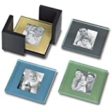 Sarah Peyton Multi-Color Glass Photo Coasters, with Storage Rack