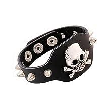 buy Time Pawnshop Retro Punk Rivet Crossbones Skeleton Skull Adjustable Leather Bracelet
