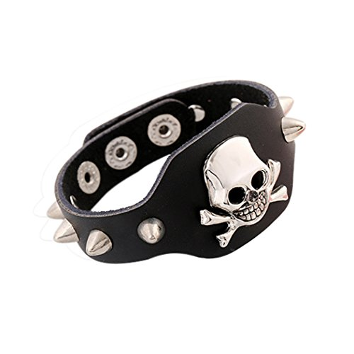 Time Pawnshop Retro Punk Rivet Crossbones Skeleton Skull Adjustable Personality Unisex Bracelet