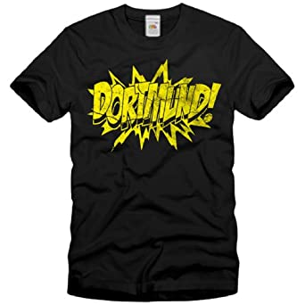 style3 Dortmund! Vintage T-Shirt Homme Borussia football football, Taille:S;Couleur:Noir
