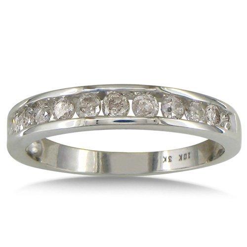 SuperJeweler 10K White Gold Channel Set Diamond Anniversary or Wedding Band 1/2ct tw - S 1/2