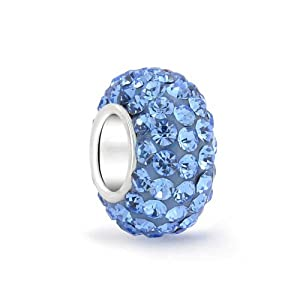 Bling Jewelry Sterling Silver Simulated Blue Topaz Crystal Bead Fits Pandora