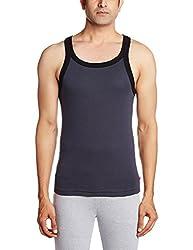 Jockey Mens Cotton Vest (8901326099230_US27-0105-GRPHT Graphite and Black Fashion Vest L)