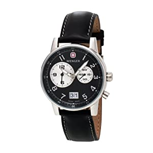 Wenger Men's 74715 Commando Dual Time 2-Eye Black Dial Black Leather Watch