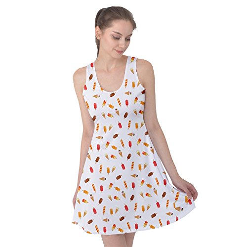 PattyPattern Womens Ice Cream Summer Tone Collection Pattern Reversible Sleeveless Dress (xl, white) (Cuisinart Cotton Candy Maker compare prices)