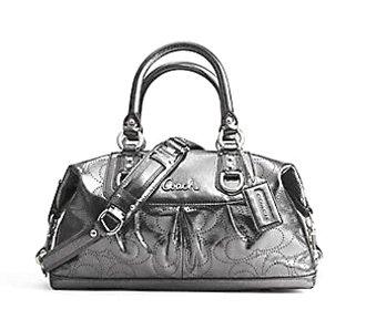 Coach Perforated Leather Ashley Sabrina Convertible Duffle Shoulder Bag Gunmental Coach 17130GUN