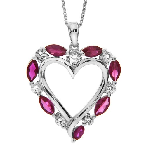 Sterling Silver Created Ruby and Lab Created White Sapphire Heart Pendant Necklace , 18