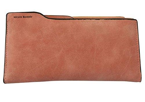 Minetom Donne Colore Della Caramella PU Leather Portafoglio Lungo Breve Porta Monete TitolareDellaCartaPochettePortafoglio Borsetta ( Cachi 1 )
