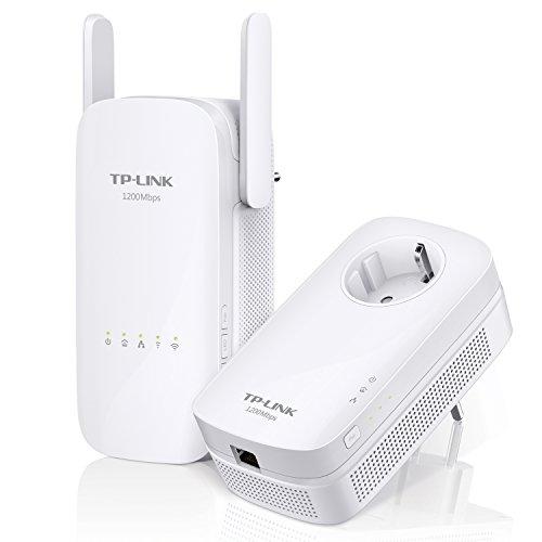 TP-Link TL-WPA8630KIT AV1200 Wi-Fi AC 1200 Mbps Pack de 2 Adaptateurs CPL (300 Mbps en 2.4GHz et 867 Mbps en 5 GHz, 3 Ports Ethernet, Prise Intégrée)