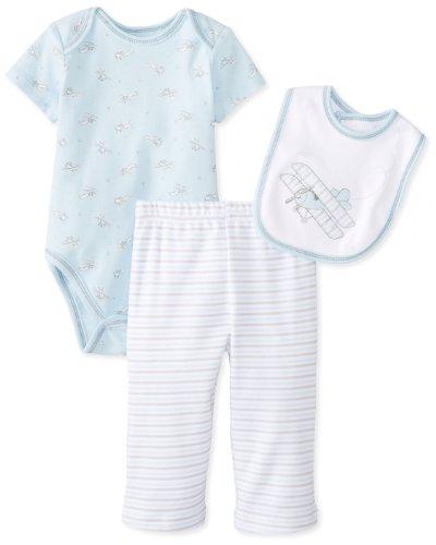 Little Me Baby-Boys Newborn Vintage Plane Lap Shoulder Set, Blue Stripe, 3 Months front-574824