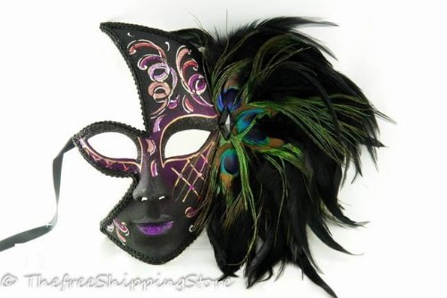 Half Masquerade Mardi Gras Mask - Peacock Feathers with Acrylic Painted Swirls