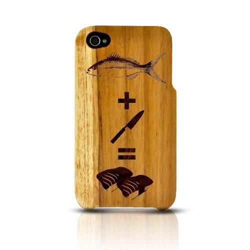 Tphone Eco-Design Apple Iphone 4/4S 100% Teak Hard Wood Back Cover Case W/ Lcd Screen Protector Cover Kit Film Guard - Fish + Knife = Sushi