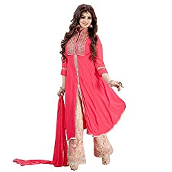 Siddh Creation Straight Gown Pink Embroidered suit