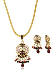 "Aakshi Ethnic Jewellery ""Jhumka Ghira Re"" In Rectangule Shaped Red & Green Pearl Drop 3-Piece Jewellery Set For..."