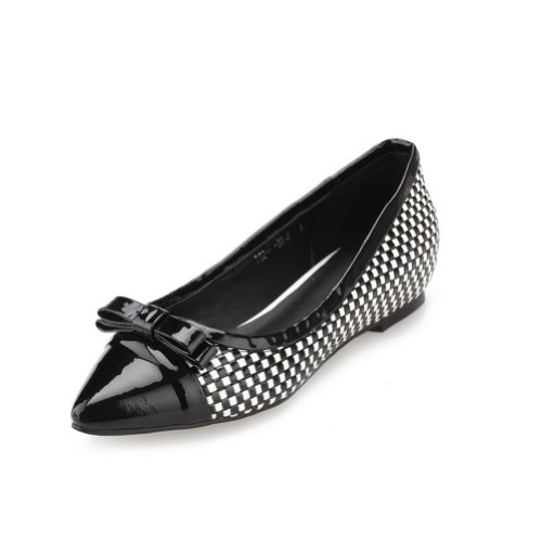 Vogue001 Womens Closed Pointed Toe Low Heel Patent Leather Micro Fiber Pumps with Bowknot