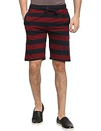 Abof Men Maroon & Navy Striped Regular Fit Shorts