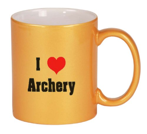 I Love/Heart Archery Coffee Mug Metallic Gold 11 oz