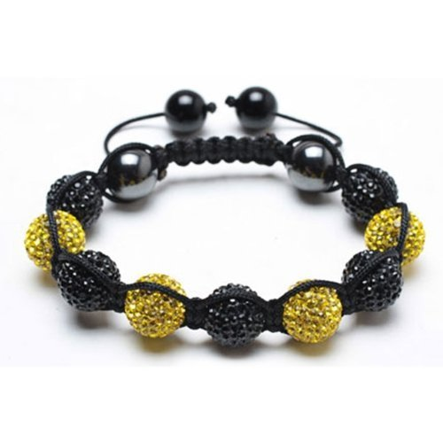 Bling Jewelry Shamballa Inspired Bracelet Black and Yellow Crystal Balls 12mm