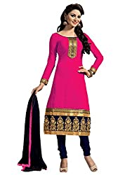 Zbuy Pink Chanderi Cotton Embroidered Unstitched Salwar Suit