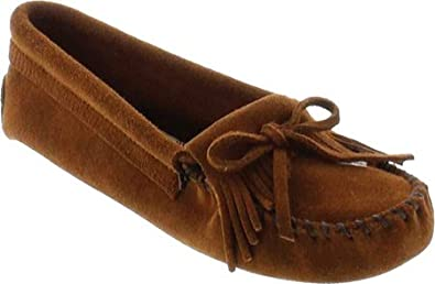 Minnetonka Women's 'Kilty' Suede Moccasin, Brown Suede, 4